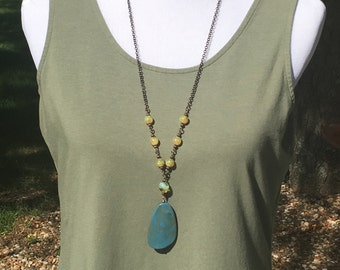 SALE Very long necklace with Blue and Gold pendant necklace