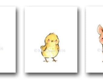 Baby Nursery Art -- Farm Friends SET OF 3 -- Duck Nursery Art, Pig Nursery Art, Chick Nursery Art, Children's Art Print, Nursery Wall Art