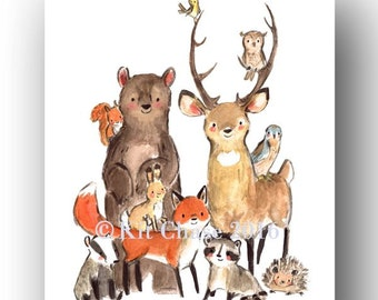 Woodland Nursery Art  -- Wild -- Forest Wall Art, Deer Wall Art, Fox Wall Art, Bear Wall Art, Children's Wall Print, Forest Animals Print