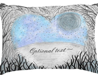 Tree branches full moon lake scene toss pillow made to order custom personalized text made to order teen decor wedding engagement rustic