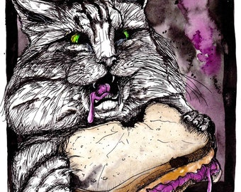 "Cat Artwork - PB&J - Inktober - Animal Illustration - Surreal Cat - ""Priorities"" by Far Out Arts"