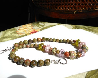 English Garden  ... natural unakite jasper, lamp worked glass beads, olive green and pink ... #629