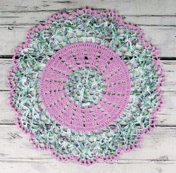 Lovely Crocheted Violet Variegated Green Aqua Lavender Doily Table Topper - 13""
