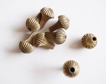 10 Vintage brass corrugated beads hollow 16x10 mm mushroom shape folded with hole through