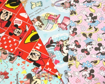 Disney fabric scrap  Minnie Mouse  print 25 cm by 25 cm or 9.6 by 9.6 inches each piece (ns04)
