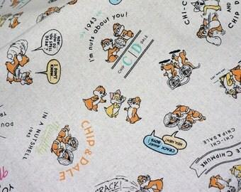 Disney Cartoon Chip and Dale  Print Japanese fabric Cotton Linen Half meter