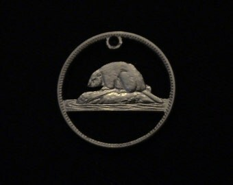 Canada - cut coin pendant - BEAVER - 1964