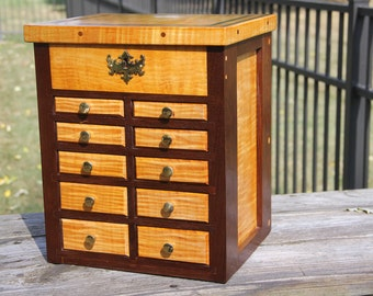Curly Maple and Tropical Walnut Tower Chest