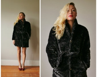 1980s Faux Fur Mini Coat~Size Extra Small to Small