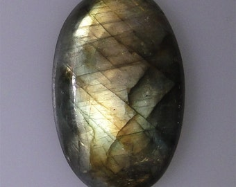 Labradorite oval cabochon, lots of gold and green color flash, 49.81 carats        043-10-627