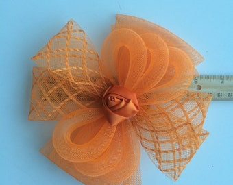 SINAMAY FASCINATOR , with Feathers, Carrot Orange /  F - 51