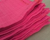Handwoven set of 6 cotton coral napkins