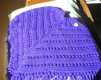 Knitted Poncho, Girls Medium - Iris