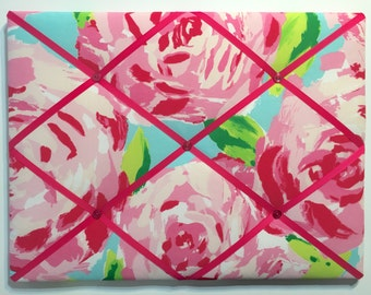 New memo board made with Lilly Pulitzer Hotty Pink First Impression fabric with hot pink ribbons