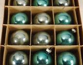 VINTAGE XMAS Shiny BRITE Mercury Glass Blue Ornament mint dozen in box 11 x8.5 inches