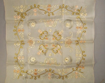 SCARF Antique Embroidered SILK Floss Flowers  Design Panel exquisite 23 X 23 in