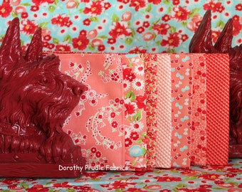 BUNDLE LITTLE RUBY retro Fabric collection in Coral  7 Fat Quarters by Moda