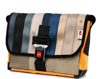 905D Messenger bag from RECYCLED car seatbelt, reclaimed car seat leather, reused truck tarp & automotive buckle