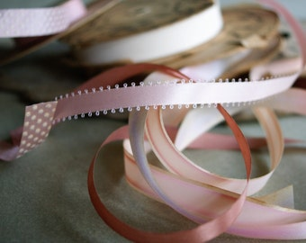 Vintage Pink Ribbons, 5 Spools, Crafting Supply, Pastel Trims