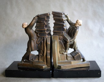 Vintage Art Deco Bookends by JB Hirsch Known as Hold Those Books, Library Decor, Masculine Book Ends