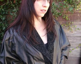 SALE 40% OFF Black Leather Jacket L, V take New Wave Lwater Jacket, Break Dancing Jacket
