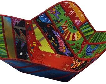 Reversible Christmas Bowl in Laurel Burch Enchantment Fabrics