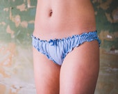 Blue Bamboo Frilly Knicker Lingerie / Underwear Made to order / Bamboo Panty / Jersey Brief