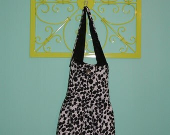 Reversible Black and White Floral Tote