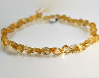 Citrine Nugget Beads - 8-12mm - Citrine Beads - Madeira Rough 1/2 Strand
