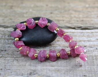 18 Rubellite Tourmaline Rough Nugget Beads