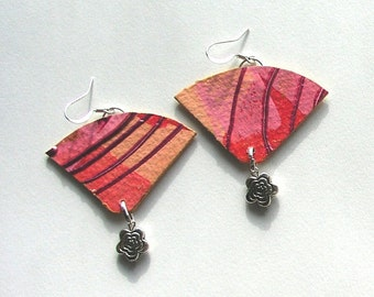 Handmade paper earrings in pink fans with pewter beads