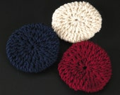 Crocheted Bun Cover Set - Cream, Navy & Red