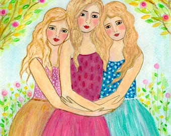 Three Blonde Sisters Art Print - Three Blonde Best Friends Art - Best Friend Sister Gift