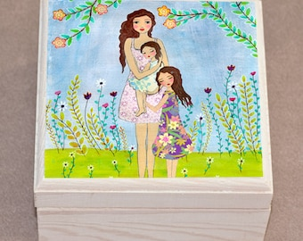 Mother and Daughters Jewelry Box, Trinket Box, Gift for Mum, Mother Daughter Gift, Mothers Day Gift, Christmas Gift for Mom