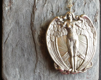 Antique silver angel locket, winged goddess locket, silver locket, large locket, long necklace, holiday gift ideas, gift ideas for mom