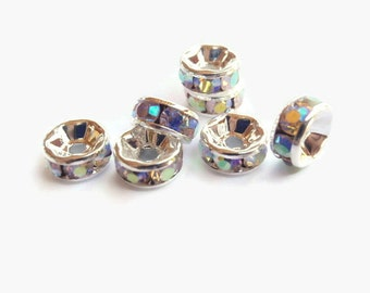12 Aurora Borealis Rhinestone Spacer Beads, Jewelry making Bead Supply, Graded AAA, Silver Metal