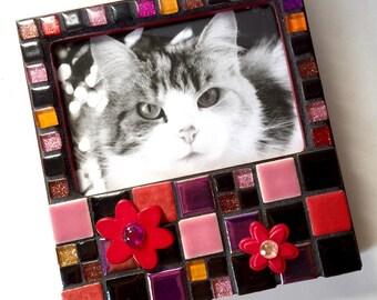 Red Black Pink Glitter Flower Mosaic Frame, Mosaic Flower Frame, Mosaic Picture Frame, Handmade Mosaic Frame ,Rectangular Black Pink Frame