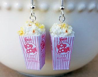 Popcorn Earrings - Food Earrings -  Food Jewelry - Polymer Clay