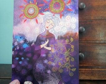Aurora, original mixed media painting, 8x12ins. mandala, wall art