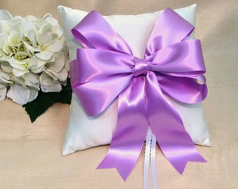 Orchid Ring Bearer Pillow - Ivory Ring Pillow - White Ring Pillow - Orchid Wedding - Ringbearer Pillow - Bridal Pillow  - Custom Bow Colors