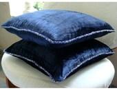 RESERVED for Kristen Smoker - 2 Navy Blue Velvet Covers 24x24 inches