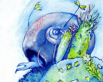 "Snail on a Windy Hill - Nature art print, 8.5"" x 10""."
