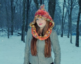 Fall Orange Autumn Hood Scarf Hat