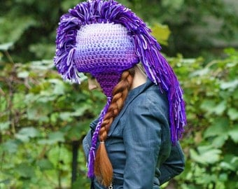 Purple Ombre Mohawk Hat Extreme Style Unique Handmade Beanie Skull Cap Gift