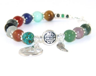 12 Step Recovery Bracelet, Sobriety Gift, Mixed Gemstone Beads - Personalize with Letter Charms