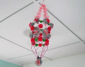 Polish Chandelier Felt Flowers Grey Pink Green