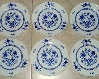 Set of 6 - Christina Porcelain-Dresden Fine China - Blue Onion Pattern - Dessert Plates - Bavaria W Germany - Seltmann Weiden -