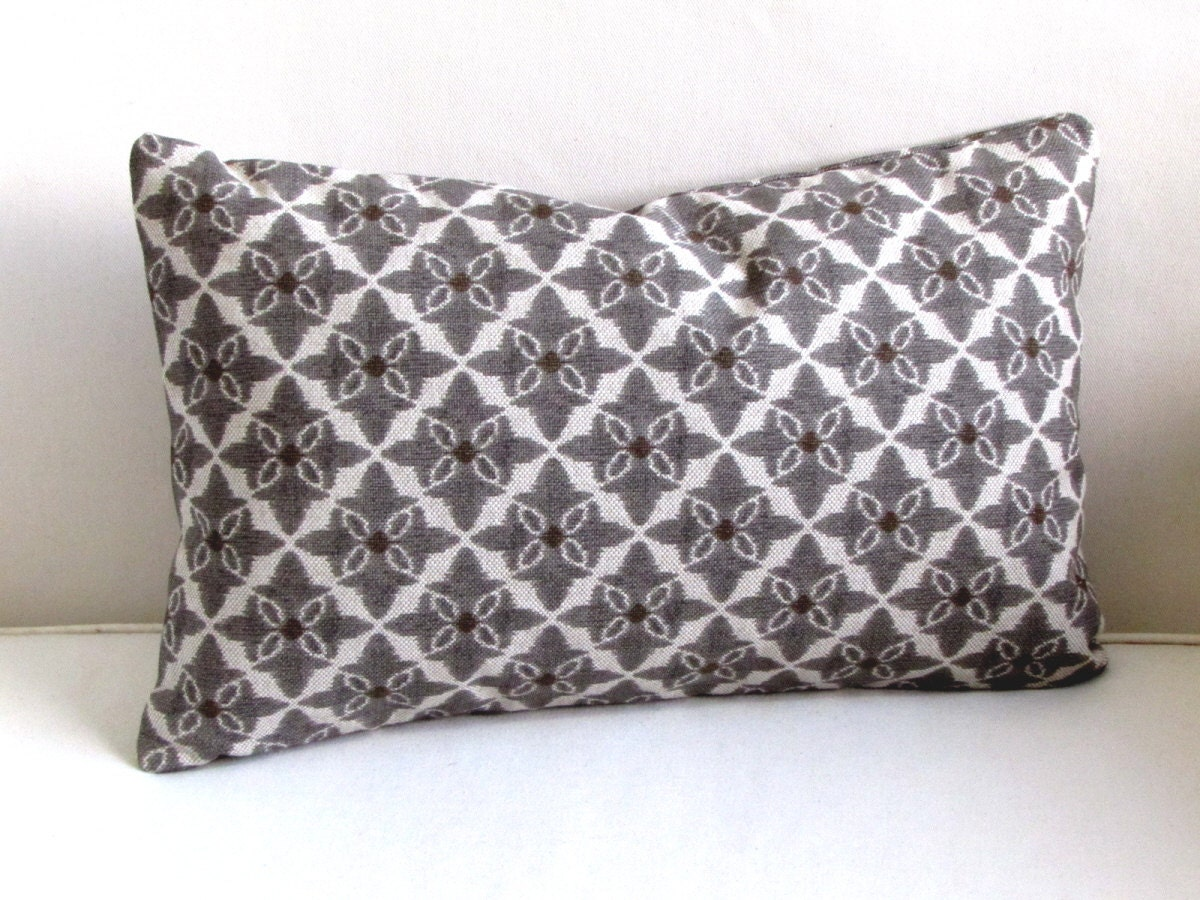 Throw Pillow Yardage : PEWTER brown brindle decorative lumbar Pillow includes insert