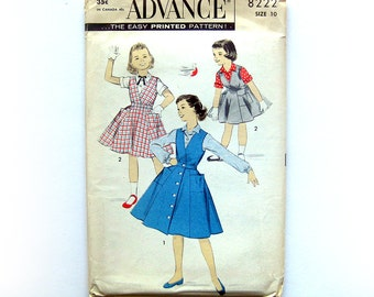 1950s Vintage Sewing Pattern - Girls Button-Front Jumper and Blouse - Advance 8222 Vintage Sewing Pattern / UNCUT FF / Size 10 or Size 12