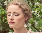 Felted earrings- On the clouds/ white wool earings/ best regards from Europe